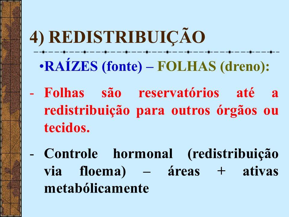 4) REDISTRIBUIÇÃO RAÍZES (fonte) – FOLHAS (dreno): -Folhas são reservatórios até a redistribuição para outros órgãos ou tecidos. -Controle hormonal (r