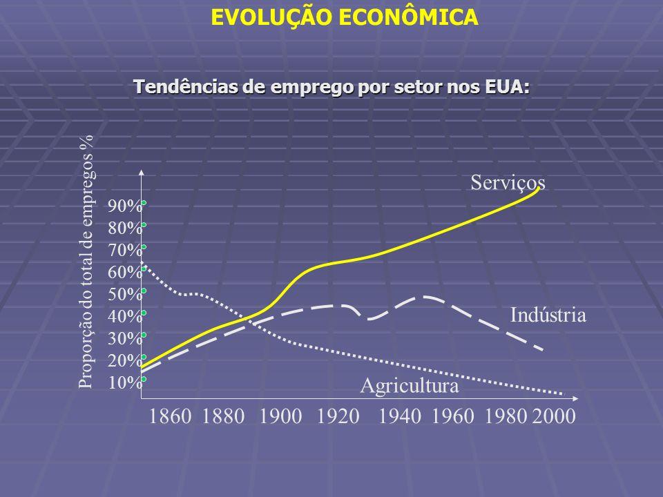 Tendências de emprego por setor nos EUA: 10% 20% 30% 40% 50% 60% Serviços 194019801900192018601880 Agricultura Indústria 80% 70% 90% Proporção do tota
