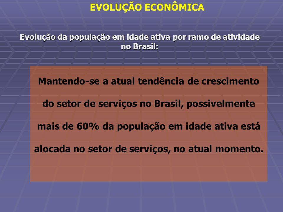 Evolução da população em idade ativa por ramo de atividade no Brasil: Mantendo-se a atual tendência de crescimento do setor de serviços no Brasil, pos