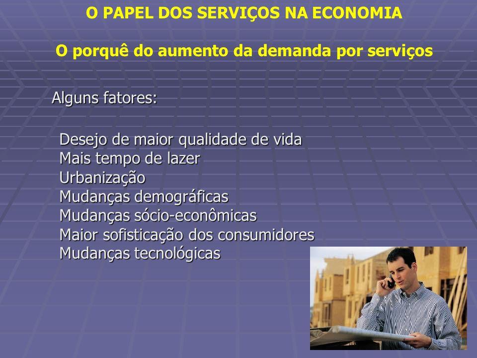 OS SERVIÇOS NA ECONOMIA BRASILEIRA Em todos os países desenvolvidos os serviços alcançam posição de destaque na economia.