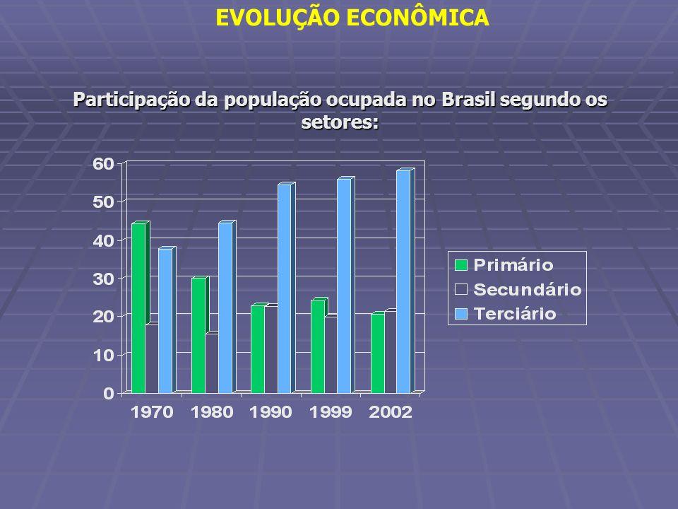 EVOLUÇÃO ECONÔMICA Participação da população ocupada no Brasil segundo os setores: