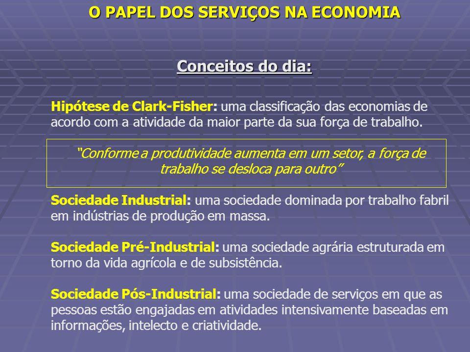 Conceitos do dia: Hipótese de Clark-Fisher: uma classificação das economias de acordo com a atividade da maior parte da sua força de trabalho. Conform