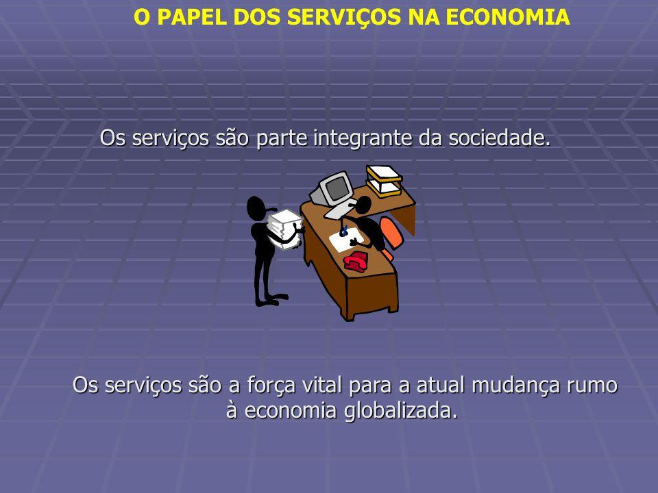 Os serviços são parte integrante da sociedade. Os serviços são a força vital para a atual mudança rumo à economia globalizada. O PAPEL DOS SERVIÇOS NA