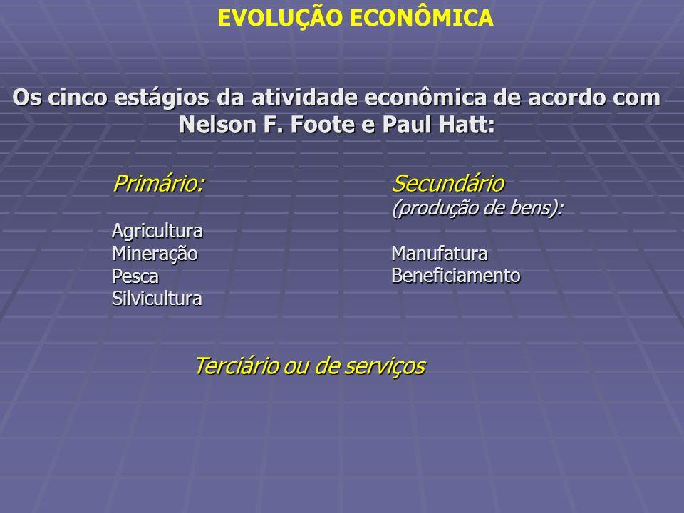 Os cinco estágios da atividade econômica de acordo com Nelson F. Foote e Paul Hatt: Primário:AgriculturaMineraçãoPescaSilvicultura Secundário (produçã
