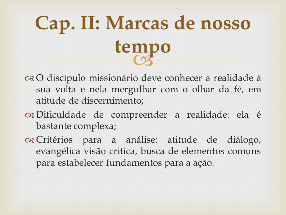 O discípulo missionário deve conhecer a realidade à sua volta e nela mergulhar com o olhar da fé, em atitude de discernimento; Dificuldade de compreen