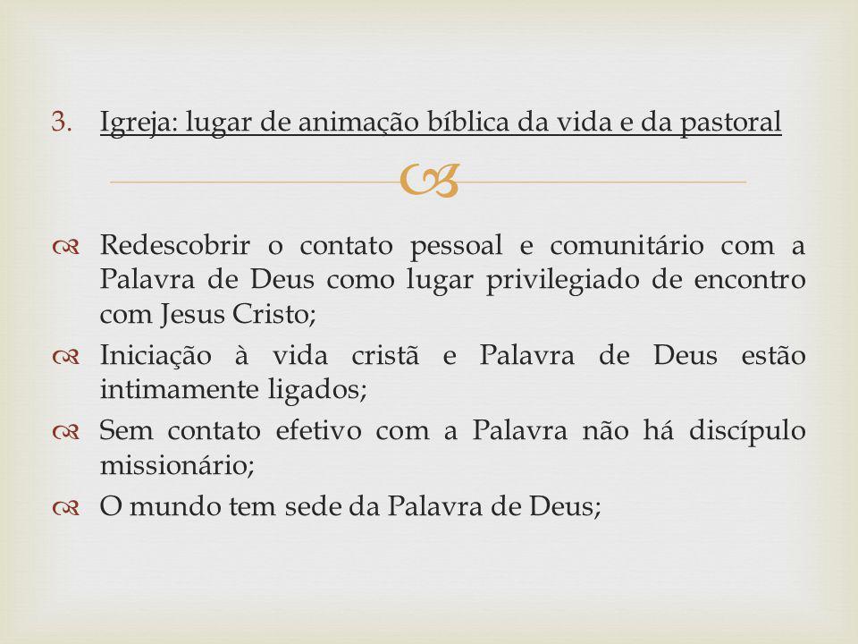 3.Igreja: lugar de animação bíblica da vida e da pastoral Redescobrir o contato pessoal e comunitário com a Palavra de Deus como lugar privilegiado de