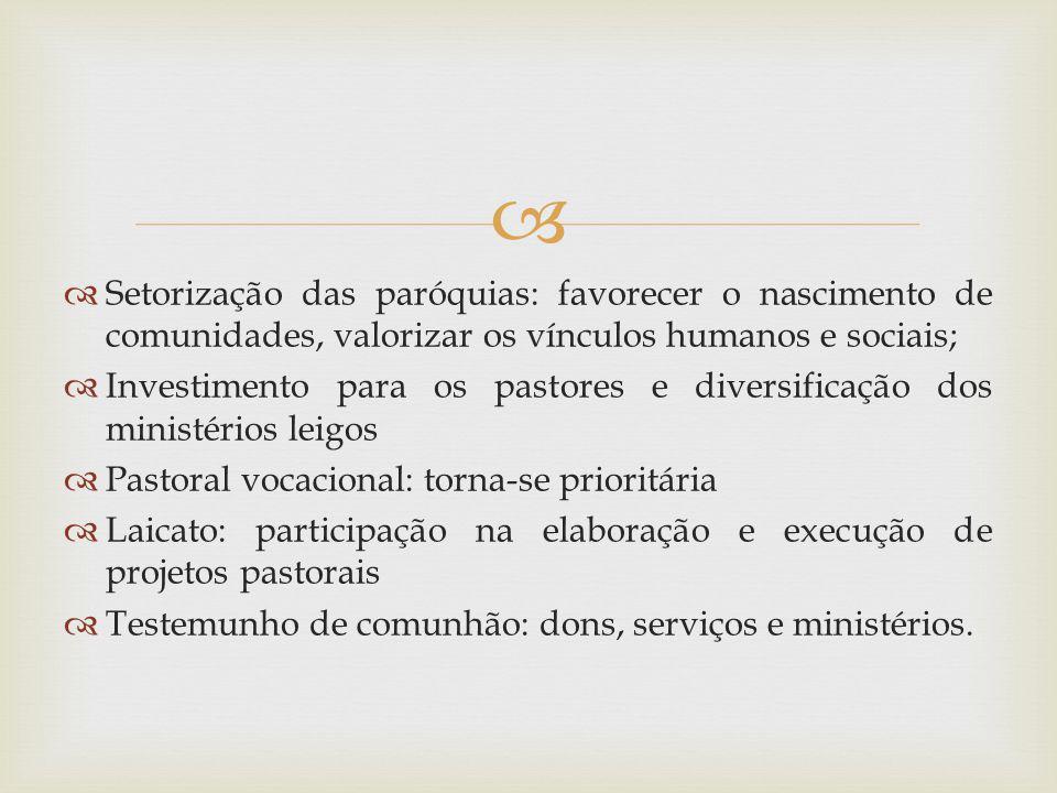 Setorização das paróquias: favorecer o nascimento de comunidades, valorizar os vínculos humanos e sociais; Investimento para os pastores e diversifica