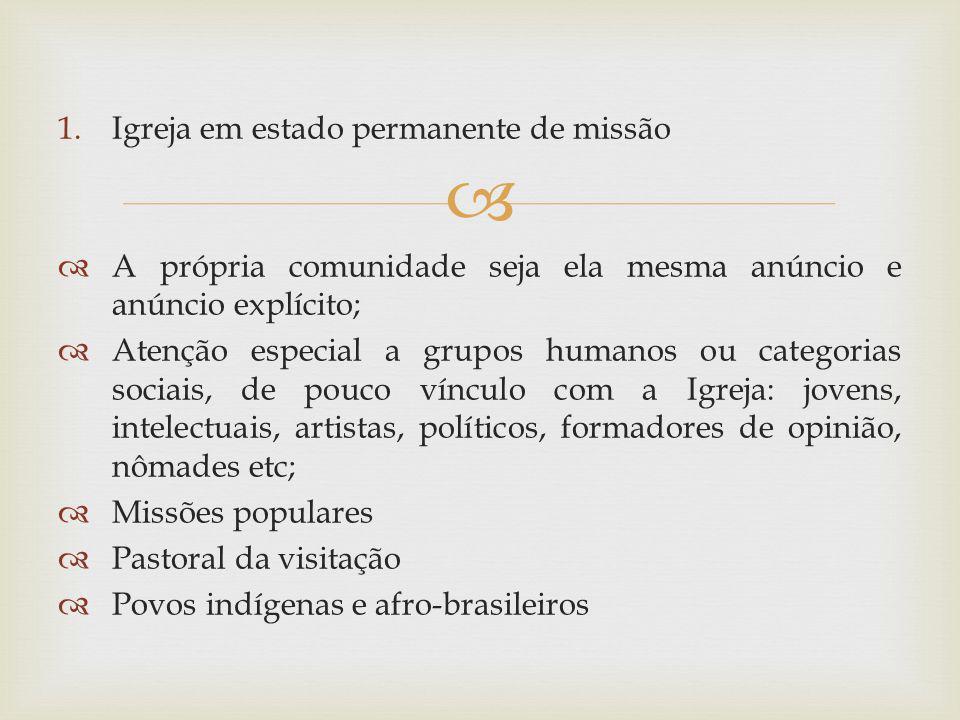 1.Igreja em estado permanente de missão A própria comunidade seja ela mesma anúncio e anúncio explícito; Atenção especial a grupos humanos ou categori
