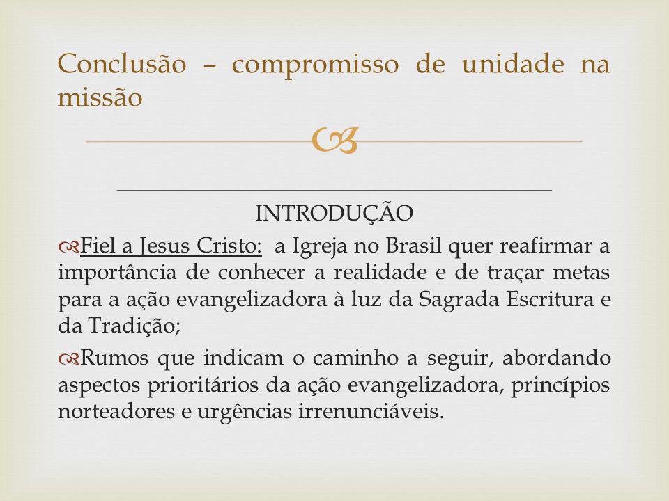 _______________________________________ INTRODUÇÃO Fiel a Jesus Cristo: a Igreja no Brasil quer reafirmar a importância de conhecer a realidade e de t