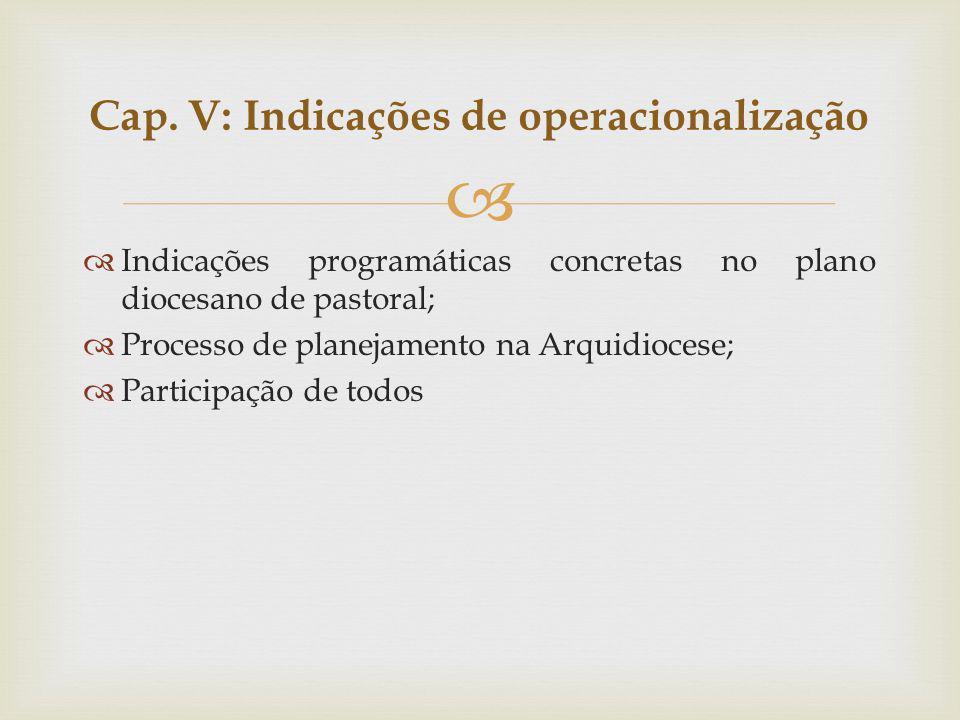 Indicações programáticas concretas no plano diocesano de pastoral; Processo de planejamento na Arquidiocese; Participação de todos Cap. V: Indicações
