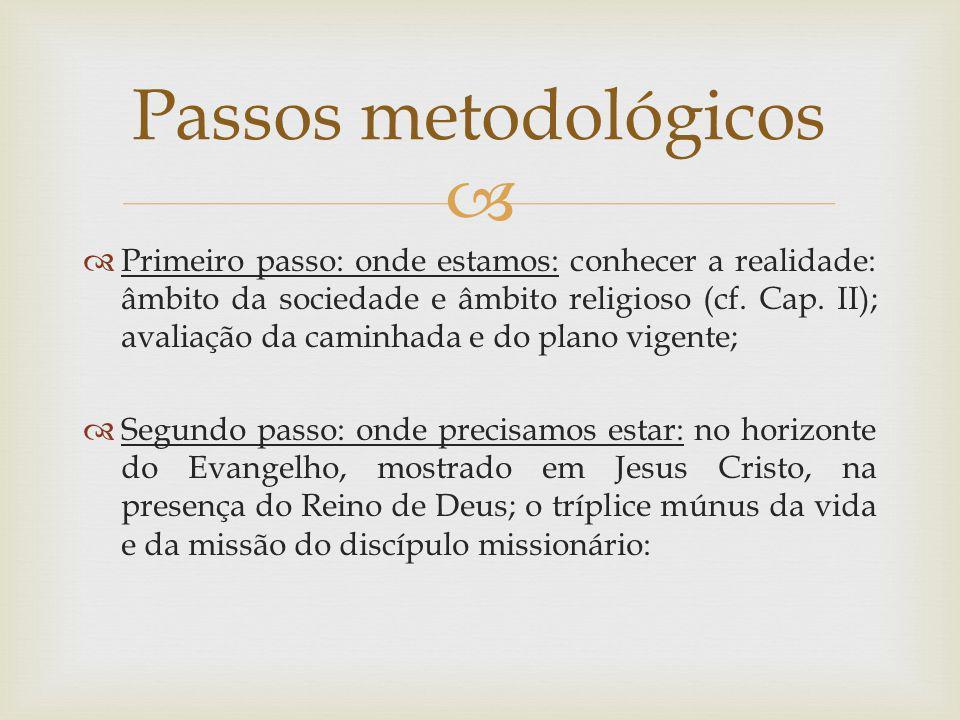 Primeiro passo: onde estamos: conhecer a realidade: âmbito da sociedade e âmbito religioso (cf. Cap. II); avaliação da caminhada e do plano vigente; S