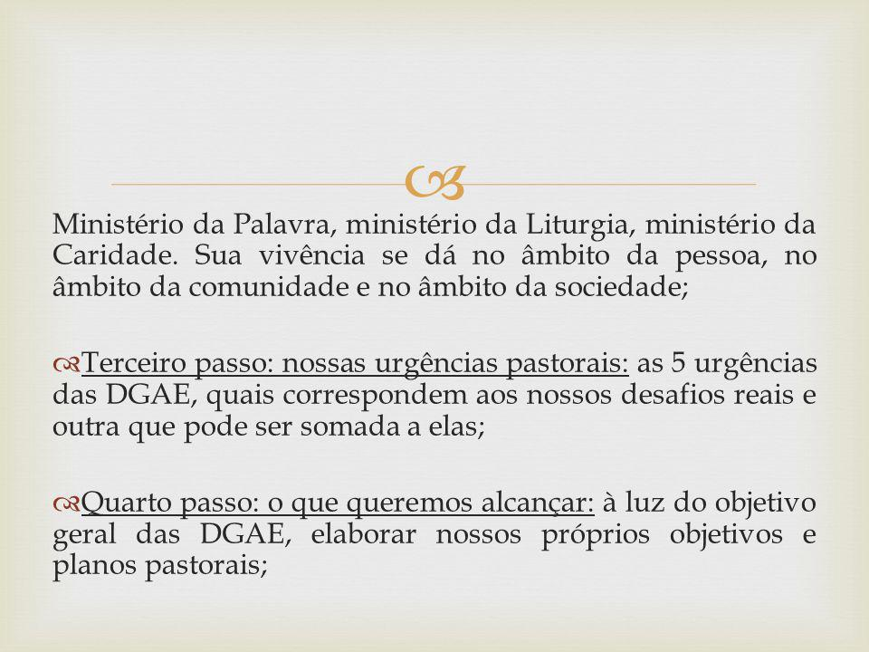 Ministério da Palavra, ministério da Liturgia, ministério da Caridade. Sua vivência se dá no âmbito da pessoa, no âmbito da comunidade e no âmbito da