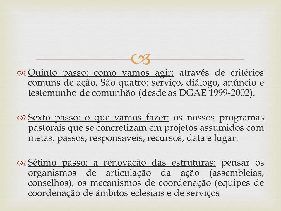 Quinto passo: como vamos agir: através de critérios comuns de ação. São quatro: serviço, diálogo, anúncio e testemunho de comunhão (desde as DGAE 1999