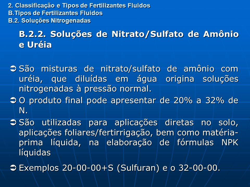 2. Classificação e Tipos de Fertilizantes Fluidos B.Tipos de Fertilizantes Fluidos B.2. Soluções Nitrogenadas B.2.2. Soluções de Nitrato/Sulfato de Am