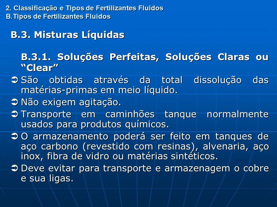 2. Classificação e Tipos de Fertilizantes Fluidos B.Tipos de Fertilizantes Fluidos B.3. Misturas Líquidas B.3.1. Soluções Perfeitas, Soluções Claras o
