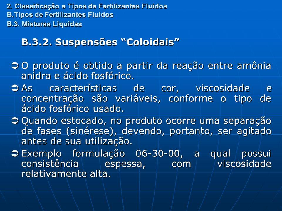 2. Classificação e Tipos de Fertilizantes Fluidos B.Tipos de Fertilizantes Fluidos B.3. Misturas Líquidas B.3.2. Suspensões Coloidais O produto é obti