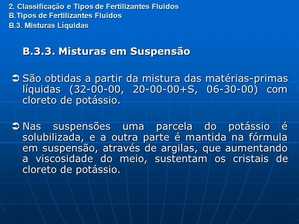 2. Classificação e Tipos de Fertilizantes Fluidos B.Tipos de Fertilizantes Fluidos B.3. Misturas Líquidas B.3.3. Misturas em Suspensão São obtidas a p