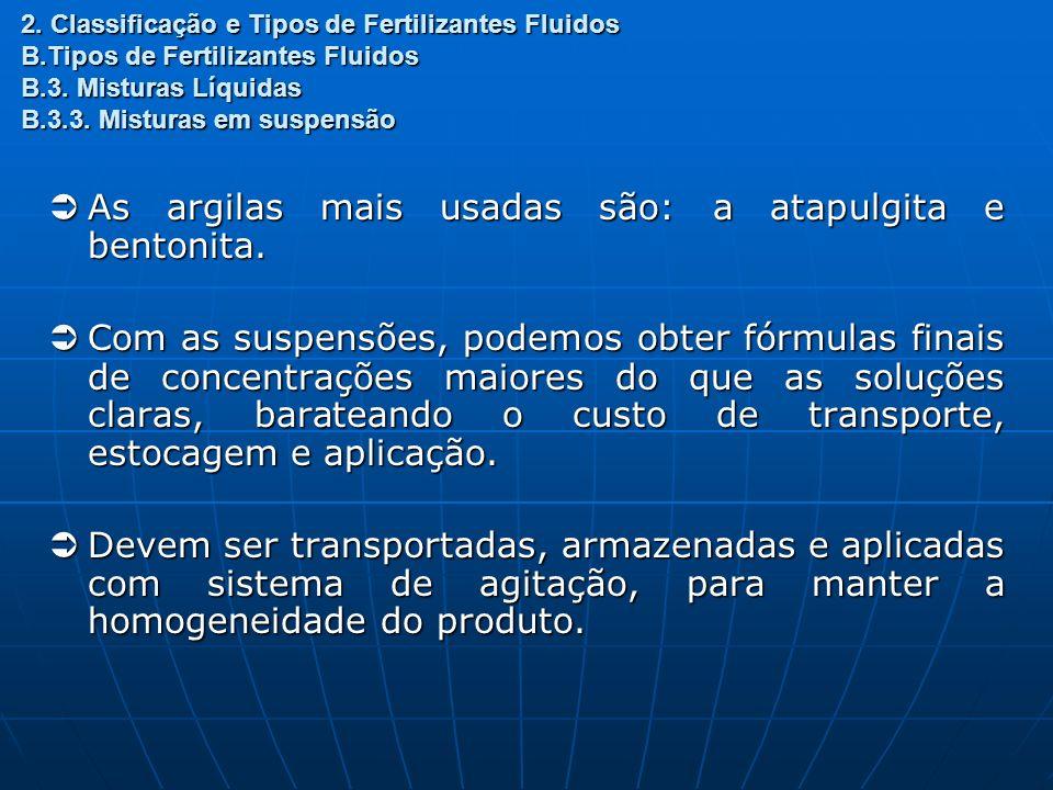 2. Classificação e Tipos de Fertilizantes Fluidos B.Tipos de Fertilizantes Fluidos B.3. Misturas Líquidas B.3.3. Misturas em suspensão As argilas mais