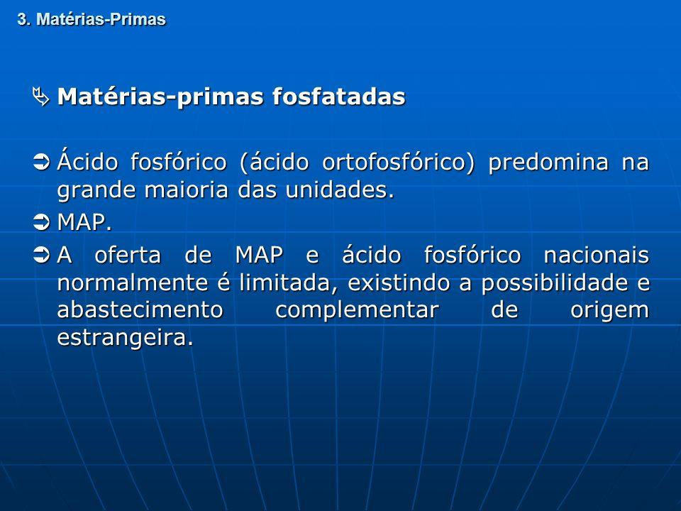 3. Matérias-Primas Matérias-primas fosfatadas Matérias-primas fosfatadas Ácido fosfórico (ácido ortofosfórico) predomina na grande maioria das unidade