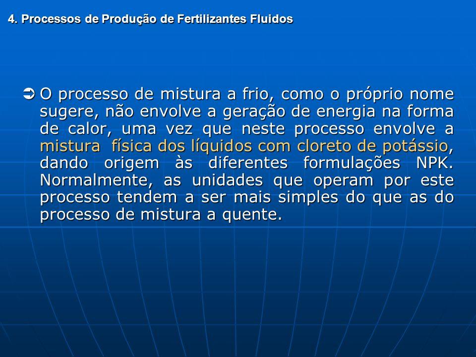 4. Processos de Produção de Fertilizantes Fluidos O processo de mistura a frio, como o próprio nome sugere, não envolve a geração de energia na forma