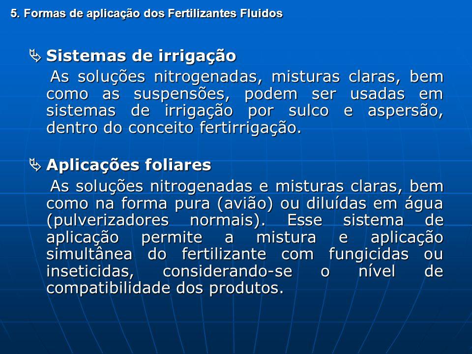 5. Formas de aplicação dos Fertilizantes Fluidos Sistemas de irrigação Sistemas de irrigação As soluções nitrogenadas, misturas claras, bem como as su