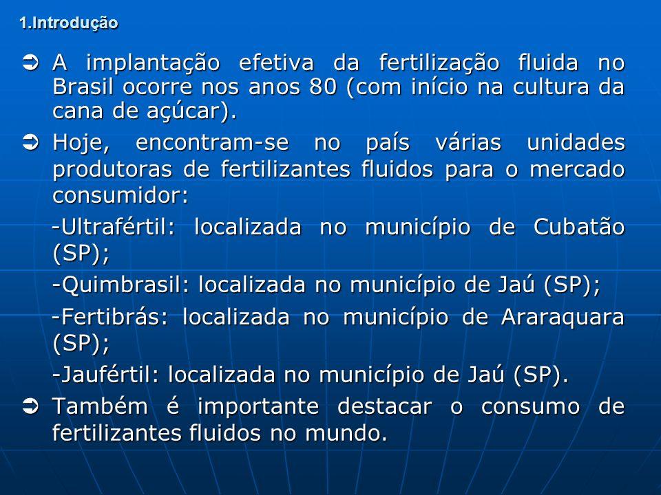 1.Introdução A implantação efetiva da fertilização fluida no Brasil ocorre nos anos 80 (com início na cultura da cana de açúcar). A implantação efetiv