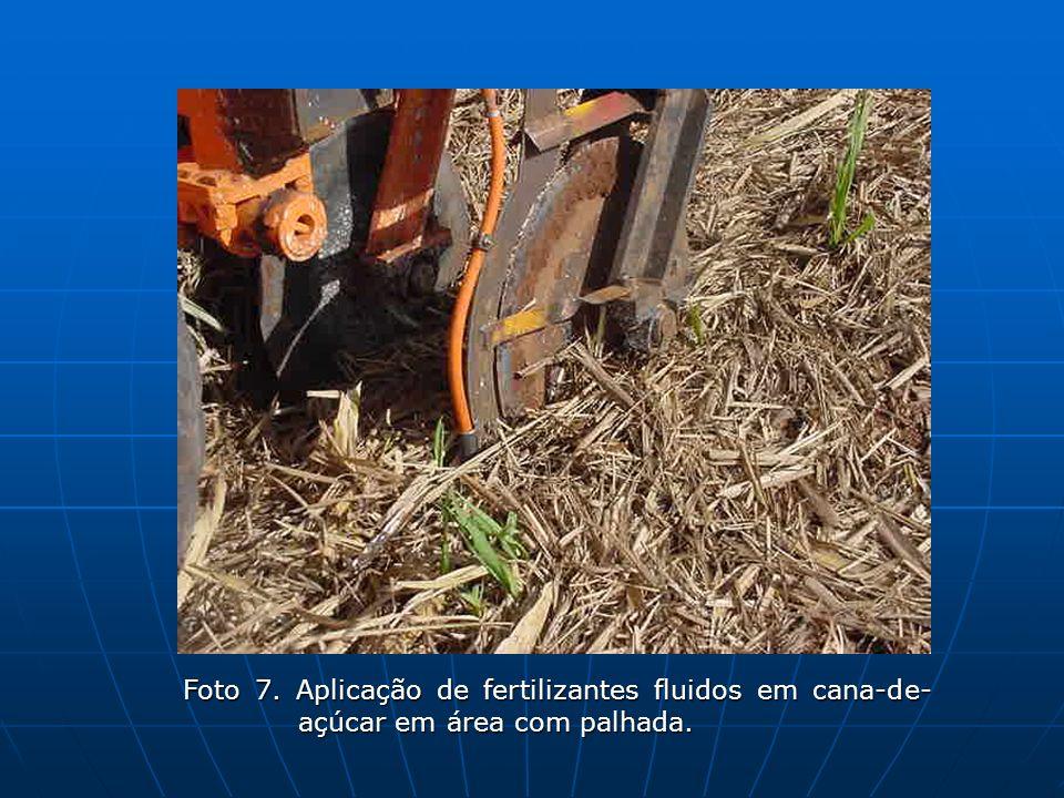 Foto 7. Aplicação de fertilizantes fluidos em cana-de- açúcar em área com palhada.