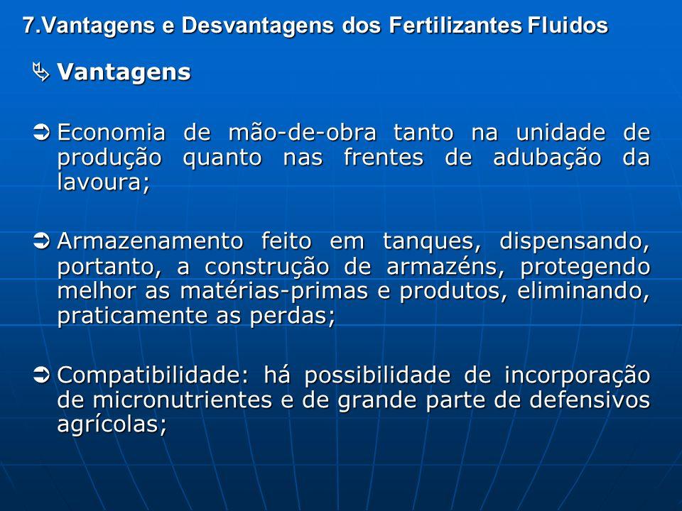 7.Vantagens e Desvantagens dos Fertilizantes Fluidos Vantagens Vantagens Economia de mão-de-obra tanto na unidade de produção quanto nas frentes de ad