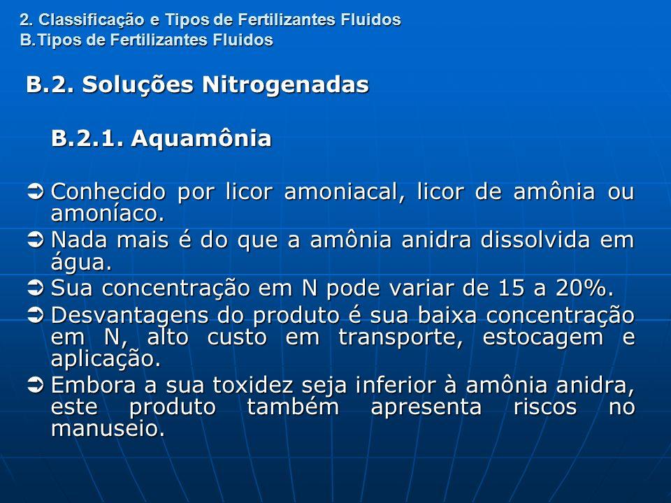 2. Classificação e Tipos de Fertilizantes Fluidos B.Tipos de Fertilizantes Fluidos B.2. Soluções Nitrogenadas B.2.1. Aquamônia Conhecido por licor amo