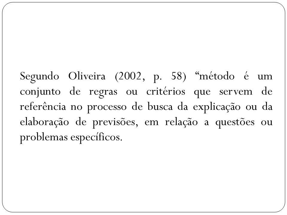 Segundo Oliveira (2002, p. 58) método é um conjunto de regras ou critérios que servem de referência no processo de busca da explicação ou da elaboraçã