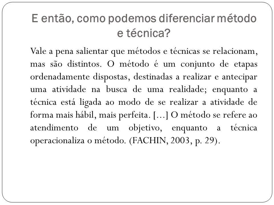E então, como podemos diferenciar método e técnica? Vale a pena salientar que métodos e técnicas se relacionam, mas são distintos. O método é um conju
