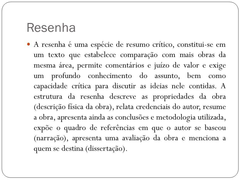 Resenha A resenha é uma espécie de resumo crítico, constitui-se em um texto que estabelece comparação com mais obras da mesma área, permite comentário