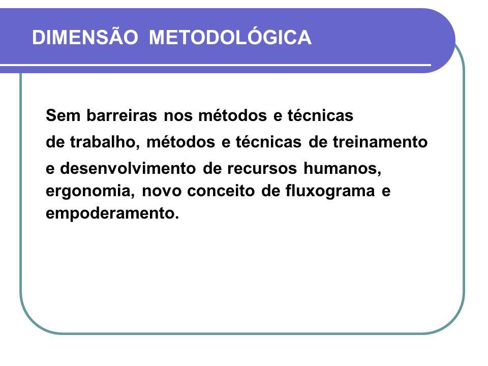 DIMENSÃO METODOLÓGICA Sem barreiras nos métodos e técnicas de trabalho, métodos e técnicas de treinamento e desenvolvimento de recursos humanos, ergon
