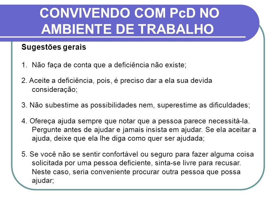 CONVIVENDO COM PcD NO AMBIENTE DE TRABALHO Sugestões gerais 1.Não faça de conta que a deficiência não existe; 2. Aceite a deficiência, pois, é preciso