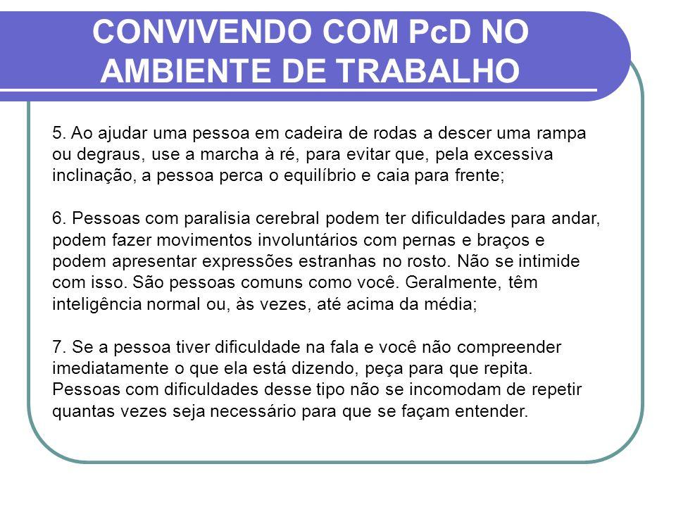 CONVIVENDO COM PcD NO AMBIENTE DE TRABALHO 5. Ao ajudar uma pessoa em cadeira de rodas a descer uma rampa ou degraus, use a marcha à ré, para evitar q