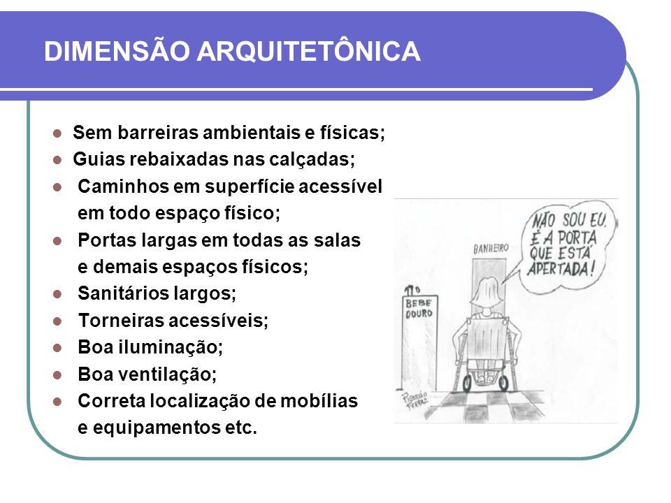DIMENSÃO ARQUITETÔNICA Sem barreiras ambientais e físicas; Guias rebaixadas nas calçadas; Caminhos em superfície acessível em todo espaço físico; Port