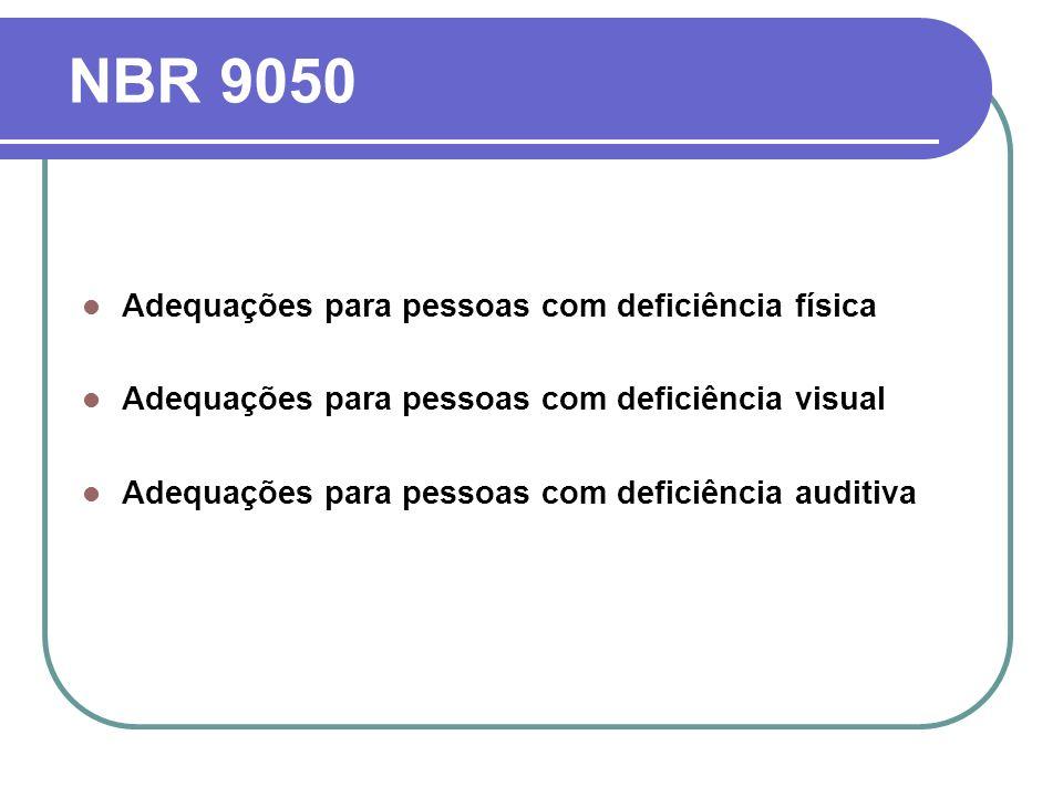 NBR 9050 Adequações para pessoas com deficiência física Adequações para pessoas com deficiência visual Adequações para pessoas com deficiência auditiv