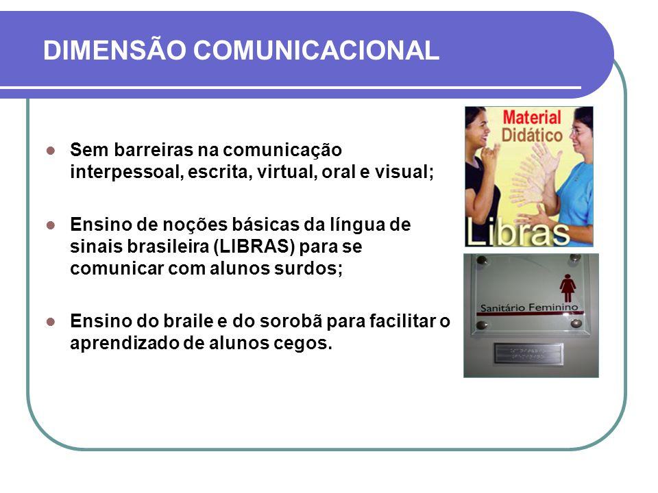 DIMENSÃO COMUNICACIONAL Sem barreiras na comunicação interpessoal, escrita, virtual, oral e visual; Ensino de noções básicas da língua de sinais brasi