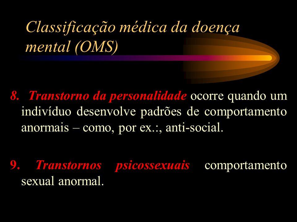 Classificação médica da doença mental (OMS) 8. Transtorno da personalidade ocorre quando um indivíduo desenvolve padrões de comportamento anormais – c
