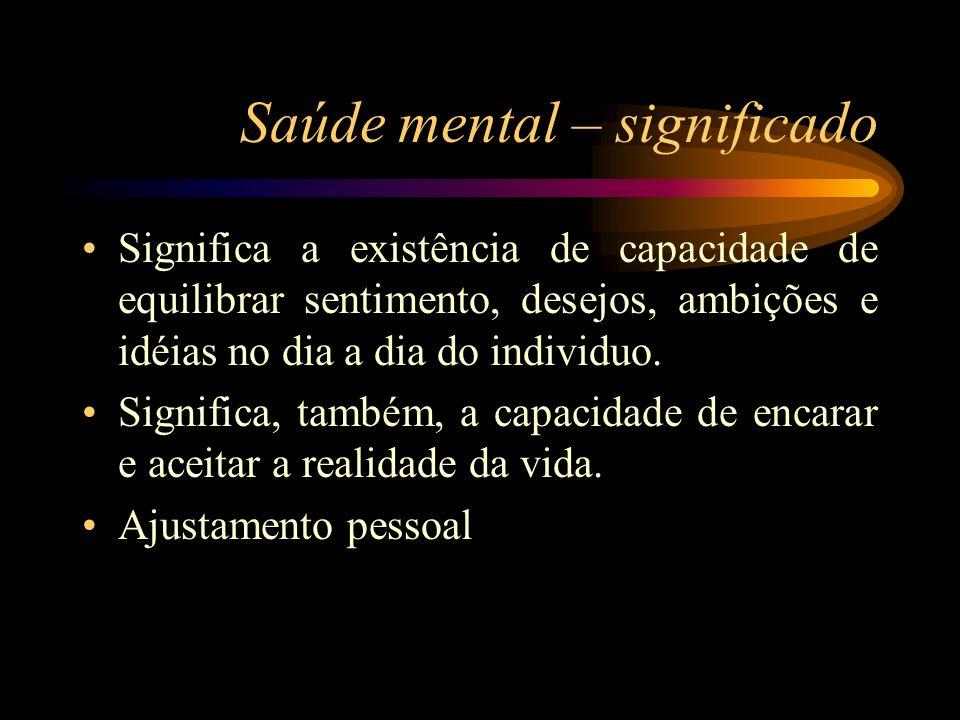 Saúde mental – significado Significa a existência de capacidade de equilibrar sentimento, desejos, ambições e idéias no dia a dia do individuo.