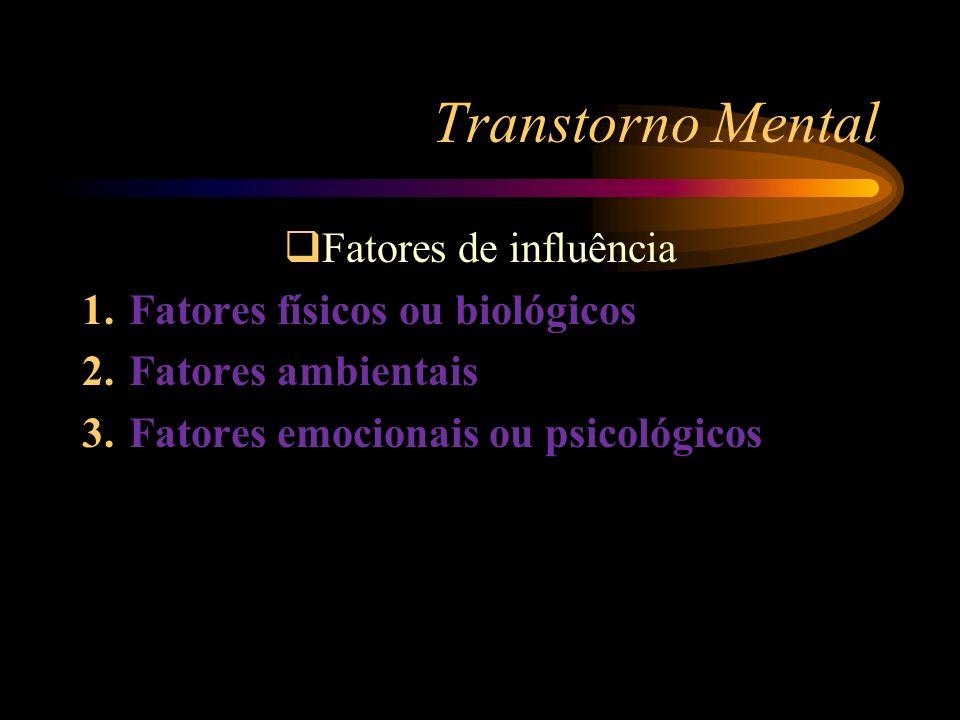 Transtorno Mental Fatores de influência 1. Fatores físicos ou biológicos 2. Fatores ambientais 3. Fatores emocionais ou psicológicos