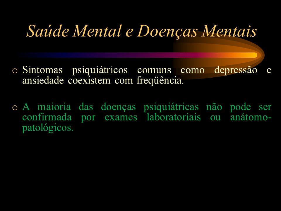 Saúde Mental e Doenças Mentais o Sintomas psiquiátricos comuns como depressão e ansiedade coexistem com freqüência. o A maioria das doenças psiquiátri