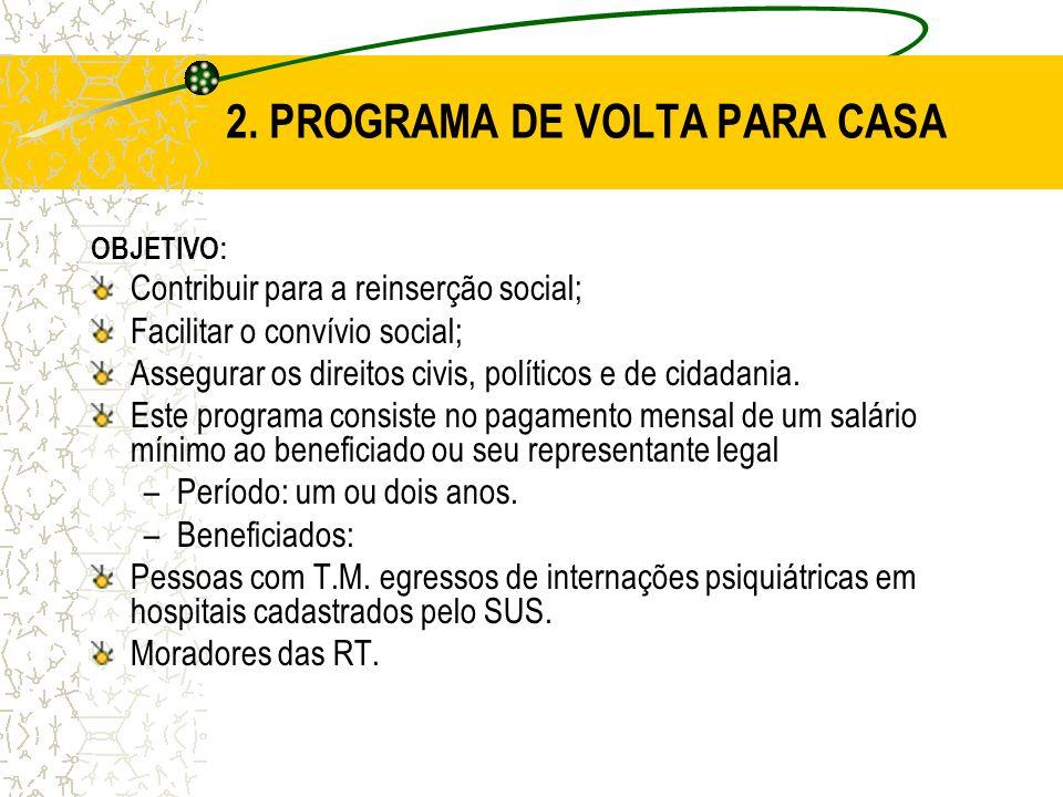 2. PROGRAMA DE VOLTA PARA CASA OBJETIVO: Contribuir para a reinserção social; Facilitar o convívio social; Assegurar os direitos civis, políticos e de