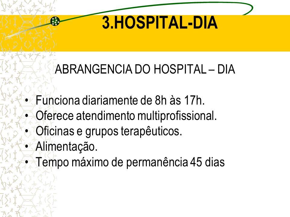 ABRANGENCIA DO HOSPITAL – DIA Funciona diariamente de 8h às 17h. Oferece atendimento multiprofissional. Oficinas e grupos terapêuticos. Alimentação. T