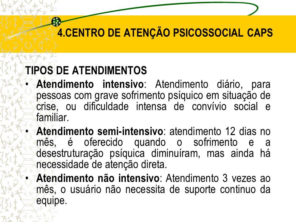 4.CENTRO DE ATENÇÃO PSICOSSOCIAL CAPS TIPOS DE ATENDIMENTOS Atendimento intensivo : Atendimento diário, para pessoas com grave sofrimento psíquico em