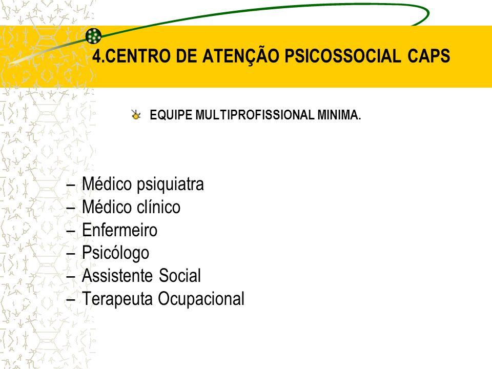 EQUIPE MULTIPROFISSIONAL MINIMA. –Médico psiquiatra –Médico clínico –Enfermeiro –Psicólogo –Assistente Social –Terapeuta Ocupacional 4.CENTRO DE ATENÇ