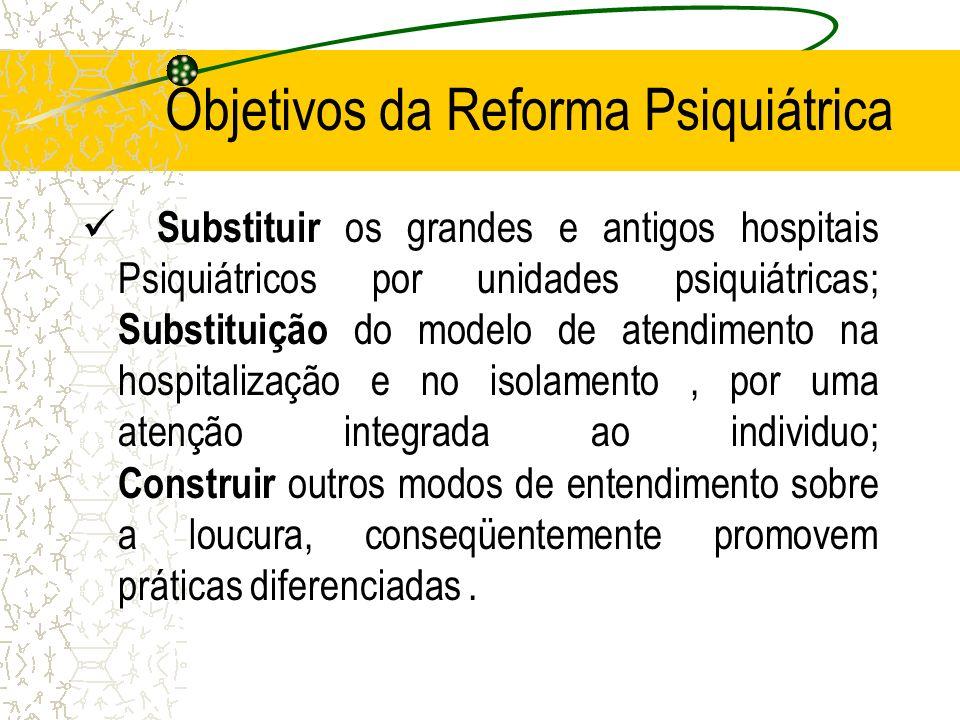Objetivos da Reforma Psiquiátrica Substituir os grandes e antigos hospitais Psiquiátricos por unidades psiquiátricas; Substituição do modelo de atendi