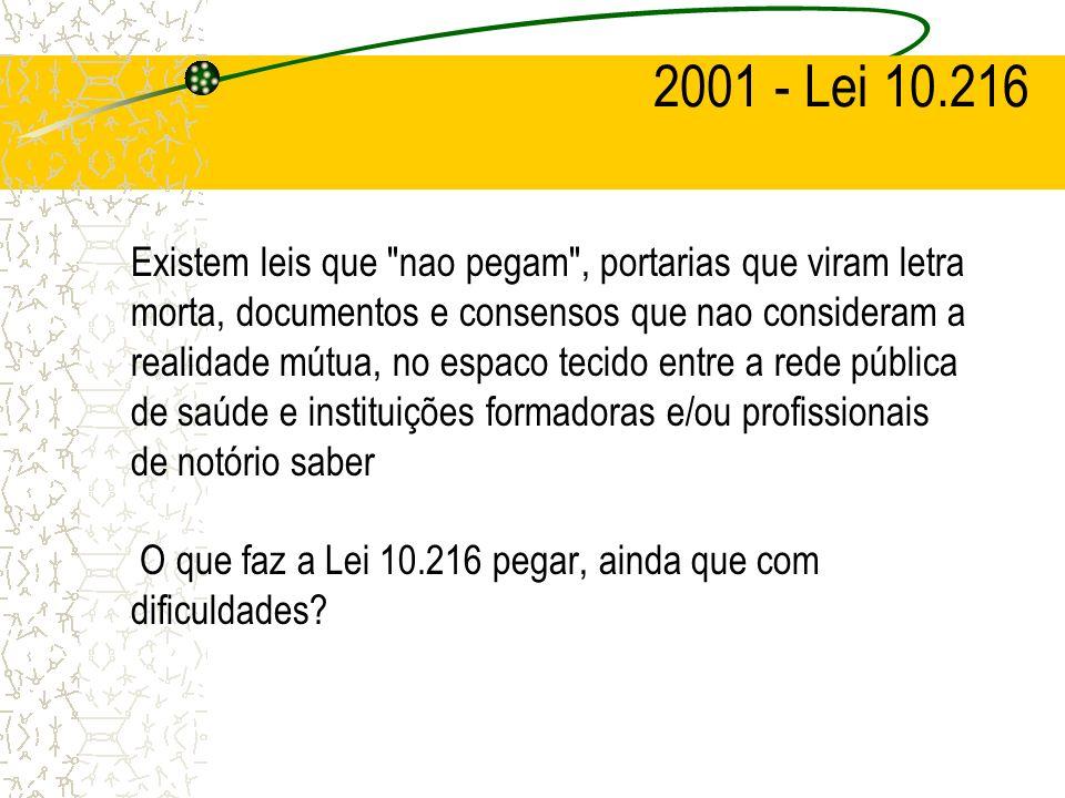 2001 - Lei 10.216 Existem leis que