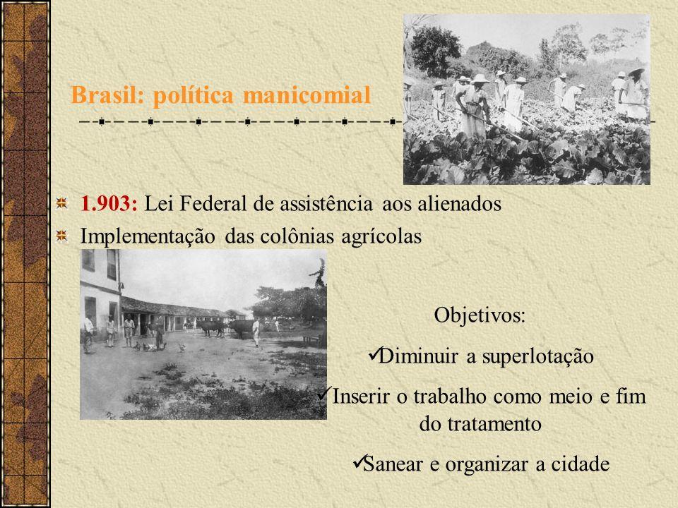 Brasil: política manicomial 1.903: Lei Federal de assistência aos alienados Implementação das colônias agrícolas Objetivos: Diminuir a superlotação In