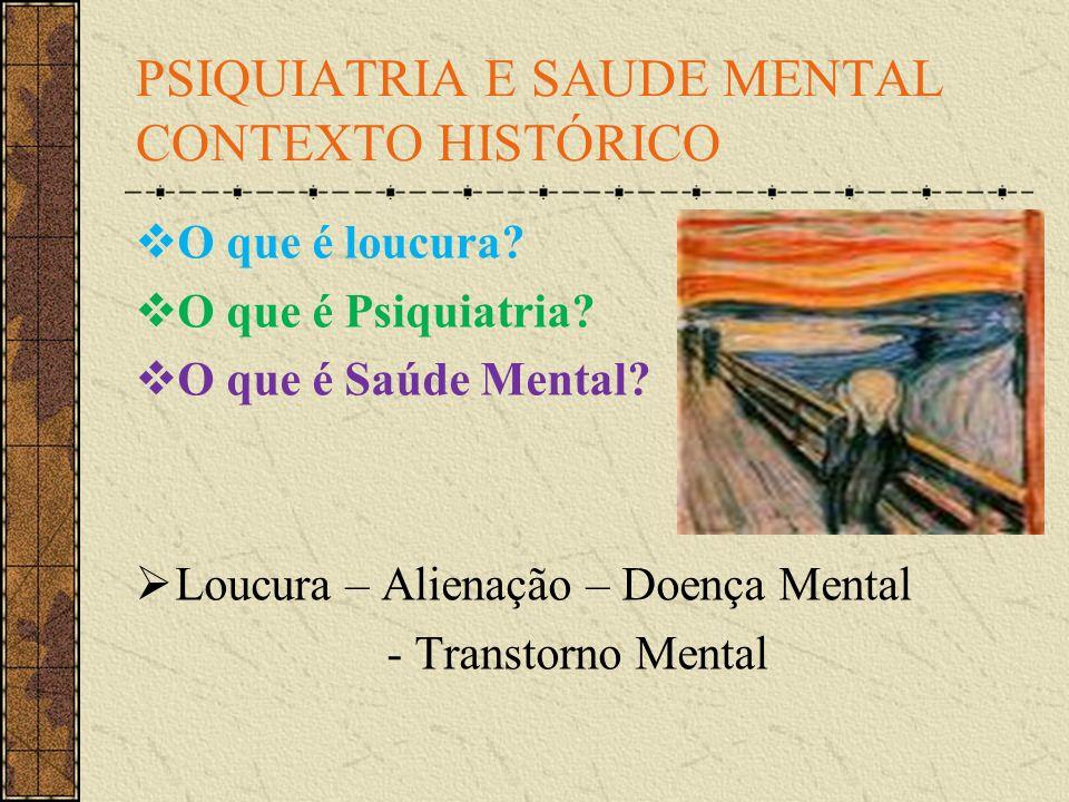 PSIQUIATRIA E SAUDE MENTAL CONTEXTO HISTÓRICO O que é loucura? O que é Psiquiatria? O que é Saúde Mental? Loucura – Alienação – Doença Mental - Transt